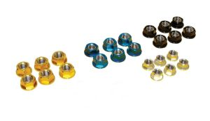 Alloy Rear Sprocket Nuts: Pack x 6 (4 Anodised Colour Options)